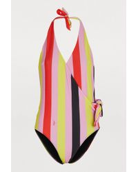 MSGM - One-piece Striped Swimsuit - Lyst