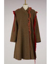 Maison Margiela - Wool Coat With Crochet Details - Lyst