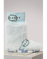 Miu Miu - Eco Fur Leather Ankle Boots - Lyst