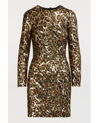 Dolce & Gabbana - Leopard Print Sequinned Tulle Mini Dress - Lyst