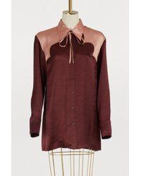 Nina Ricci - Bicolor Satin Shirt - Lyst