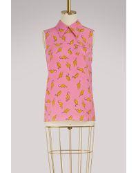 Miu Miu - Cats Print Silk Skirt - Lyst