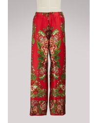 F.R.S For Restless Sleepers - Eterei Floral-print Silk Trousers - Lyst
