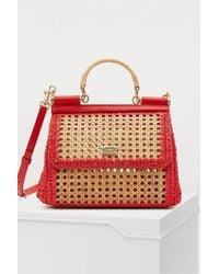 Dolce & Gabbana - Sicily Raffia Shoulder Bag - Lyst