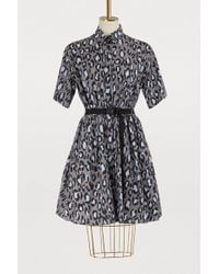 KENZO - Grey Leopard Belted Fit And Flare Dress - Lyst
