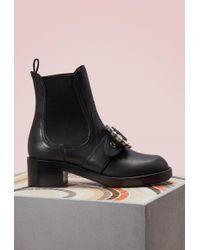 5d983c798d7e Lyst - Miu Miu Miu Spiked Ankle Boots Black in Metallic