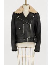 Acne Studios - Leather Biker Jacket With Fur Collar - Lyst