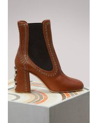 Miu Miu | Studs Leather Ankle Boots | Lyst