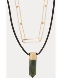 Isabel Marant - Brass And Lamb Leather Necklace - Lyst