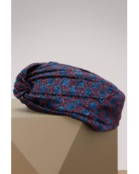 e019593c Gucci Gg Velvet Turban Headband in Blue - Lyst