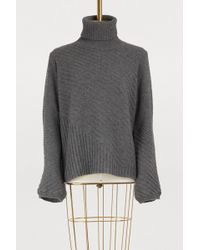 Roberto Collina - Oversized Turtleneck Sweater With Rotating Seams - Lyst