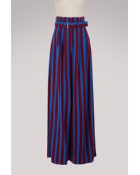 Maison Margiela - Striped Wide Leg Trousers - Lyst
