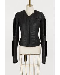 Rick Owens - Fur Sleeves Leather Jacket - Lyst