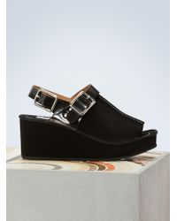 KENZO - Suede Wedge Sandals - Lyst