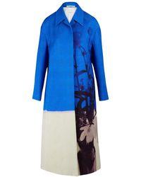 Dries Van Noten Langer texturierter Mantel - Blau