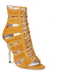 Balmain Hope Metal Striped-Heel Lace-Up Leather Sandals orange - Lyst