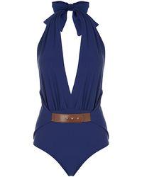 Agua De Coco Ribbed Swimsuit blue - Lyst