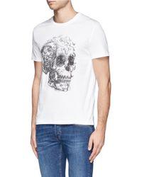 Alexander McQueen Floral Skull Print Tshirt - Lyst