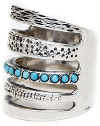 Pamela Love Single Cage Ring in Silver with Turquoise - Lyst