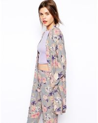 Asos Longline Soft Jacket In Watercolour Floral Print - Lyst