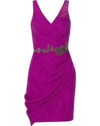 Notte By Marchesa Embellished Silk-chiffon Mini Dress - Lyst
