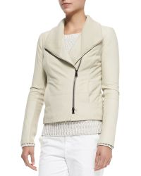 Vince Ribbedleather Fitted Jacket - Lyst