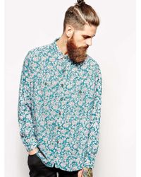 American Apparel Oversized Rose Print Rayon Shirt - Lyst