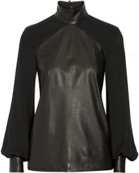 Tamara Mellon Paneled Leather and Silk Crepe De Chine Top - Lyst