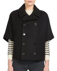 Saint Laurent Double-Breasted Cropped Wool Jacket black - Lyst