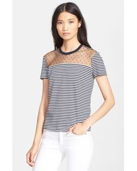 RED Valentino Stripe Jersey Short Sleeve Tee blue - Lyst
