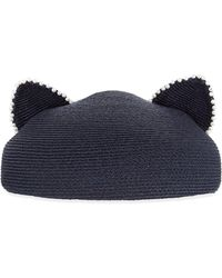 Eugenia Kim Caterina Pearly Trim Cat-Ear Hat - Lyst