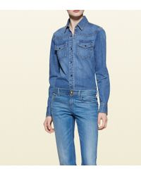 Gucci Denim Button-down Shirt - Lyst