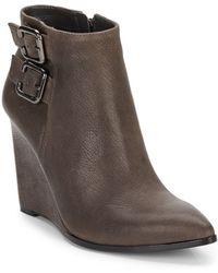 Vince Camuto Karmel Leather Wedge Ankle Boots - Lyst