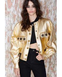 Nasty Gal Vintage Escada Afterlife Leather Bomber Jacket gold - Lyst