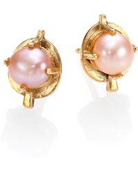 Aesa - Muse 6mm Pink Freshwater Pearl Arrow Stud Earrings - Lyst