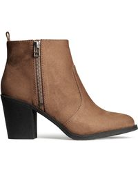 H&M Brown Ankle Boots - Lyst