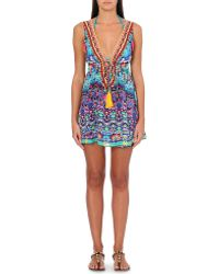 Camilla Printed Silk Beach Dress Artesania - Lyst