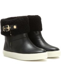 Burberry Brit - Skillman Leather And Shearling Boots - Lyst