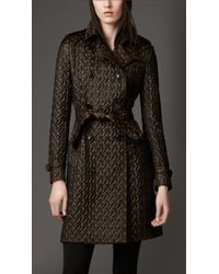 Burberry Textured Jacquard Trench Coat - Lyst
