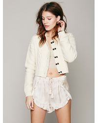 Free People Cable Cardigan - Lyst