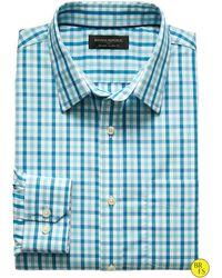 Banana Republic Factory Classic-Fit Non-Iron Turquoise Gingham Shirt blue - Lyst
