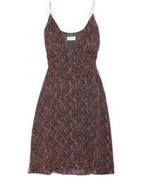 Saint Laurent Black Silk Dress - Lyst