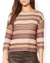 Ralph Lauren Lauren Multi Stripe Sweater - Lyst
