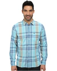 Lacoste Poplin Long Sleeve Plaid Shirt blue - Lyst