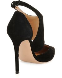 Gianvito Rossi Cutout Ankle-Wrap Point-Toe Pump black - Lyst