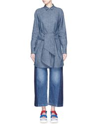 MSGM | Wrap Front Chambray Tunic Top | Lyst
