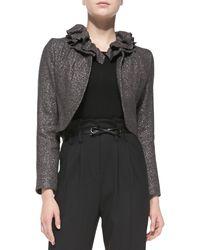 Milly Ruffled-collar Tweed Jacket - Lyst