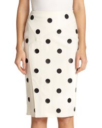 Ralph Lauren Collection Tasha Dot-Print Pencil Skirt - Lyst