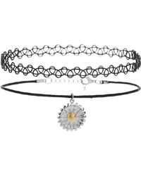 Topshop Tattoo and Flower Charm Choker - Lyst