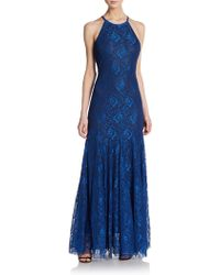 Vera Wang Lace Halterneck Gown blue - Lyst